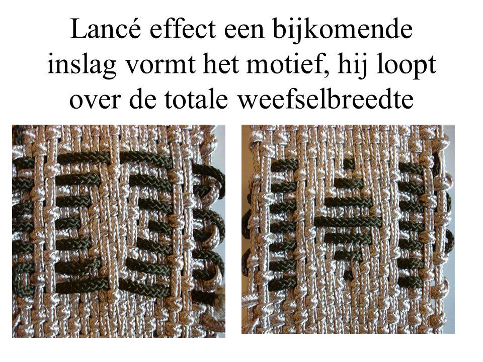 Lancé effect een bijkomende inslag vormt het motief, hij loopt over de totale weefselbreedte