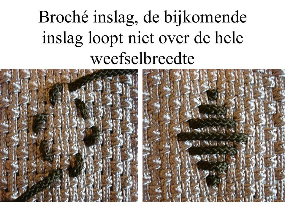 Broché inslag, de bijkomende inslag loopt niet over de hele weefselbreedte