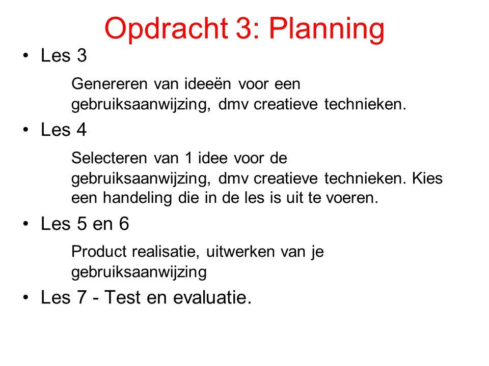 Opdracht 3: Planning Les 3