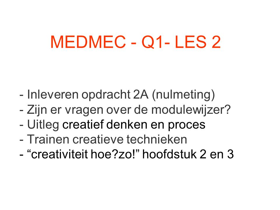 MEDMEC - Q1- LES 2 Inleveren opdracht 2A (nulmeting)