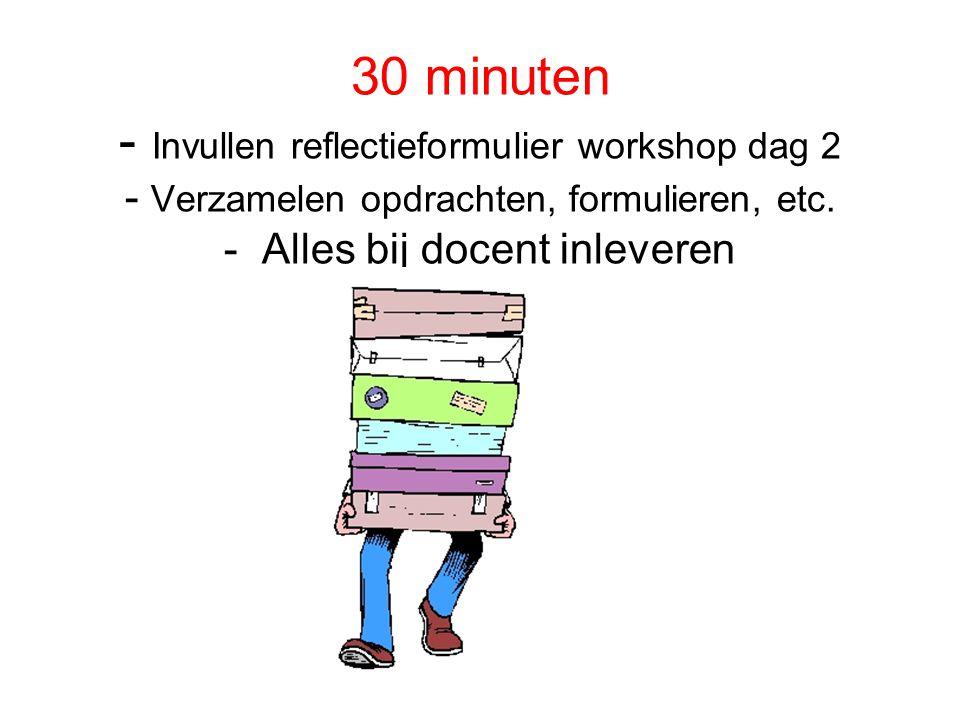 30 minuten - Invullen reflectieformulier workshop dag 2 - Verzamelen opdrachten, formulieren, etc.
