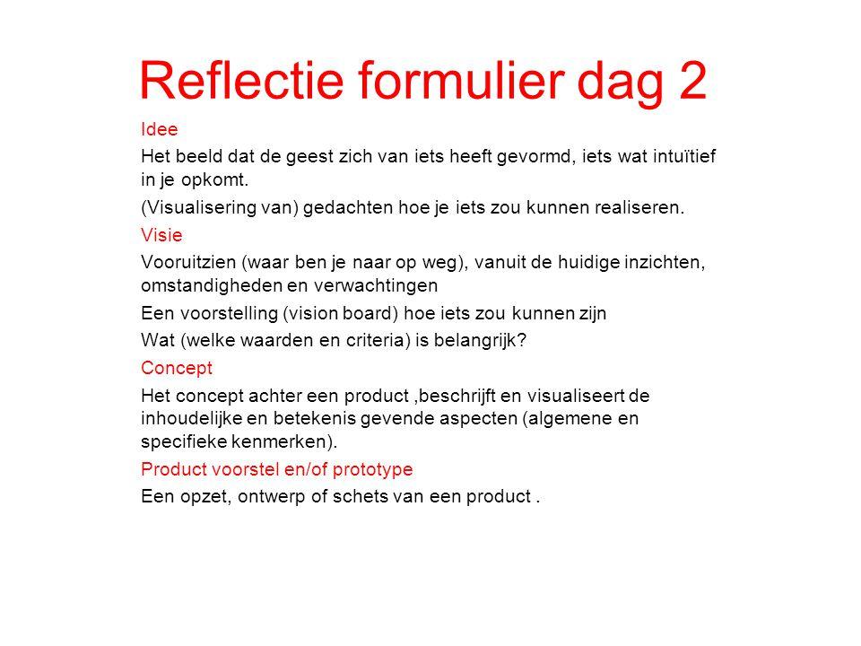 Reflectie formulier dag 2