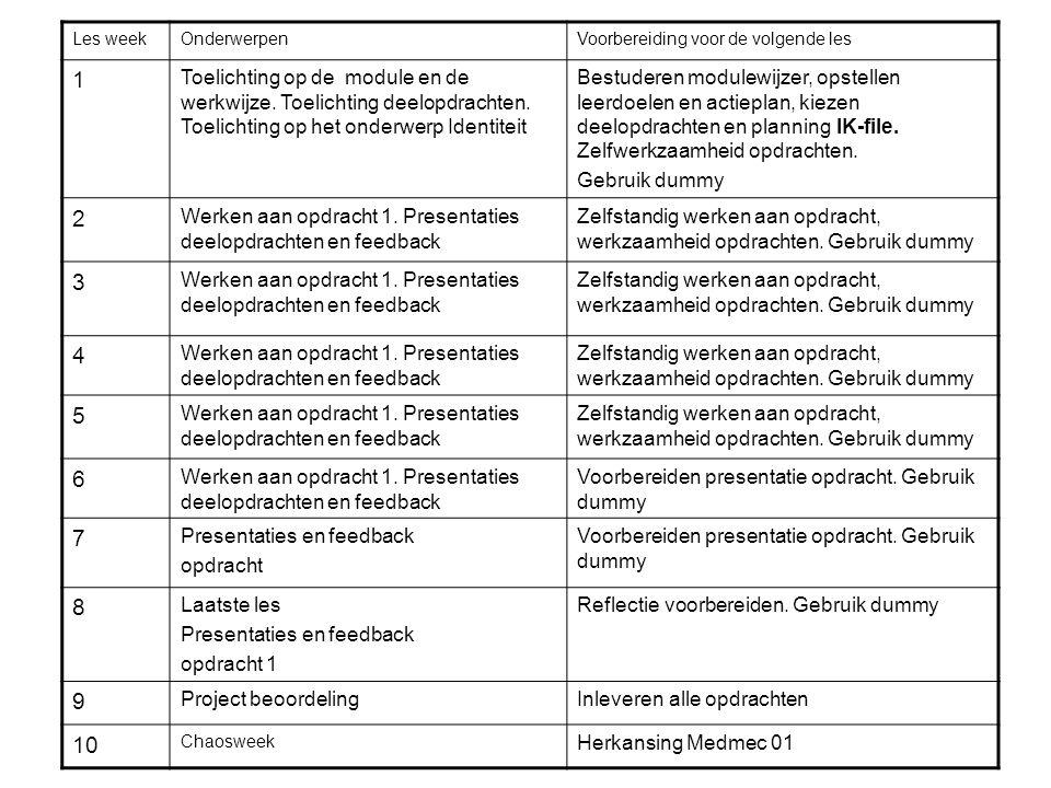 Les week Onderwerpen. Voorbereiding voor de volgende les. 1.