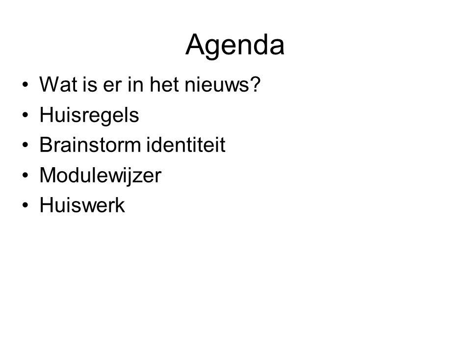 Agenda Wat is er in het nieuws Huisregels Brainstorm identiteit