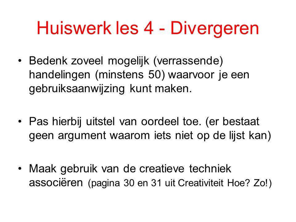 Huiswerk les 4 - Divergeren