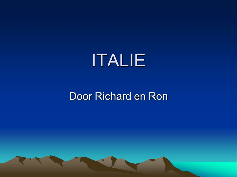 ITALIE Door Richard en Ron