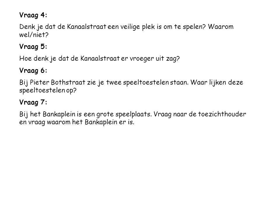 Vraag 4: Denk je dat de Kanaalstraat een veilige plek is om te spelen Waarom wel/niet Vraag 5: