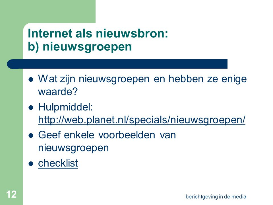 Internet als nieuwsbron: b) nieuwsgroepen