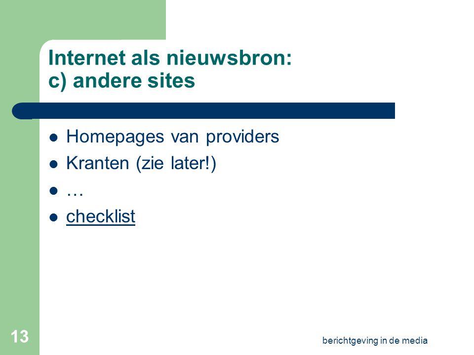 Internet als nieuwsbron: c) andere sites