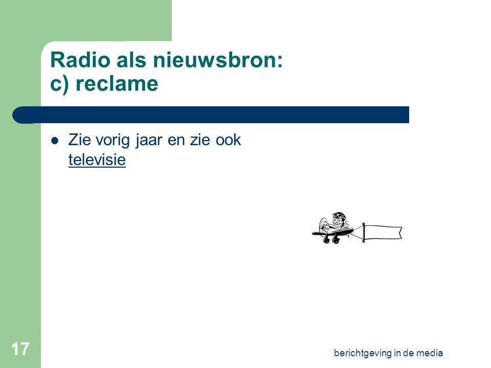 Radio als nieuwsbron: c) reclame