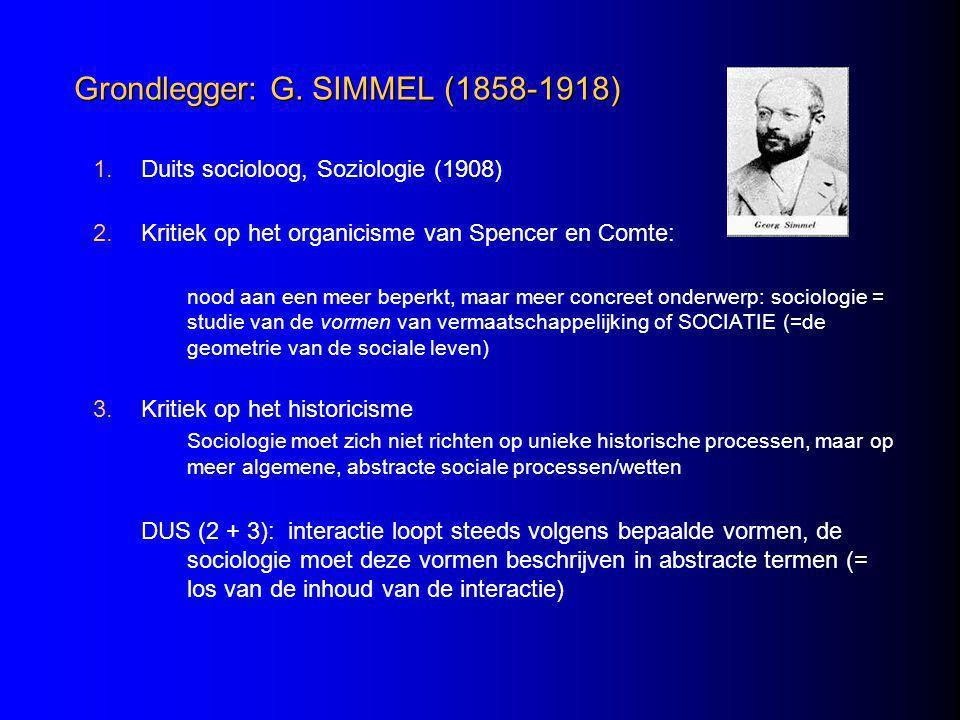 Grondlegger: G. SIMMEL (1858-1918)