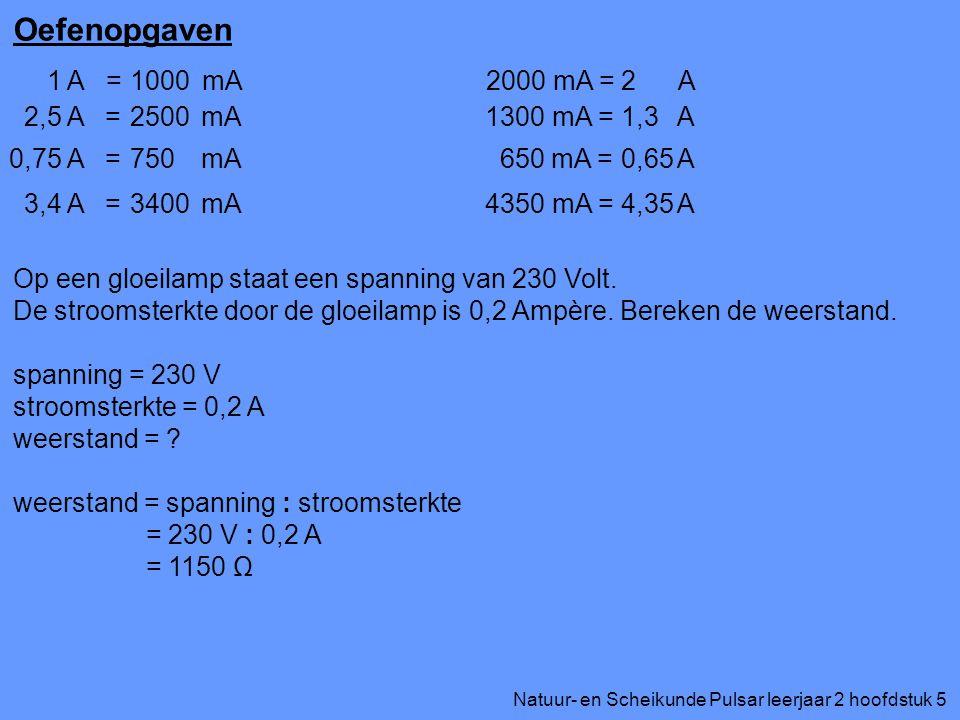 Oefenopgaven 1 A = mA 1000 2000 mA = A 2 2,5 A = mA 2500 1300 mA = A