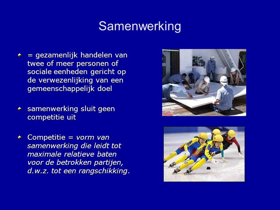 Samenwerking = gezamenlijk handelen van twee of meer personen of sociale eenheden gericht op de verwezenlijking van een gemeenschappelijk doel.