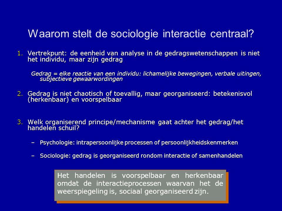 Waarom stelt de sociologie interactie centraal