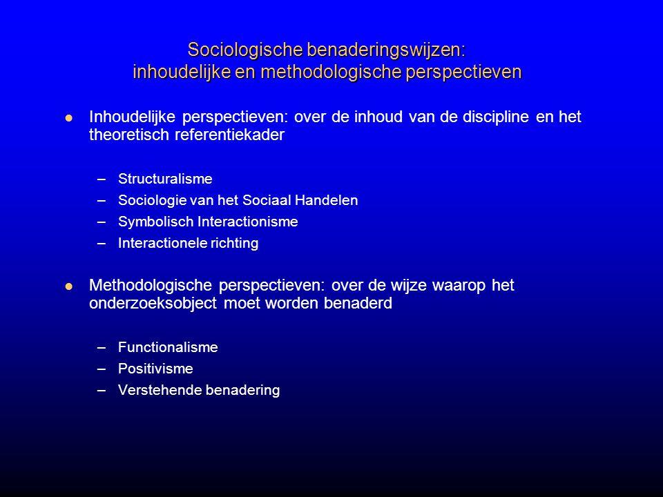 Sociologische benaderingswijzen: inhoudelijke en methodologische perspectieven