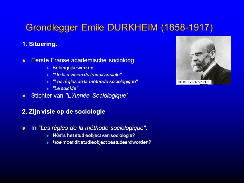 Grondlegger Emile DURKHEIM (1858-1917)