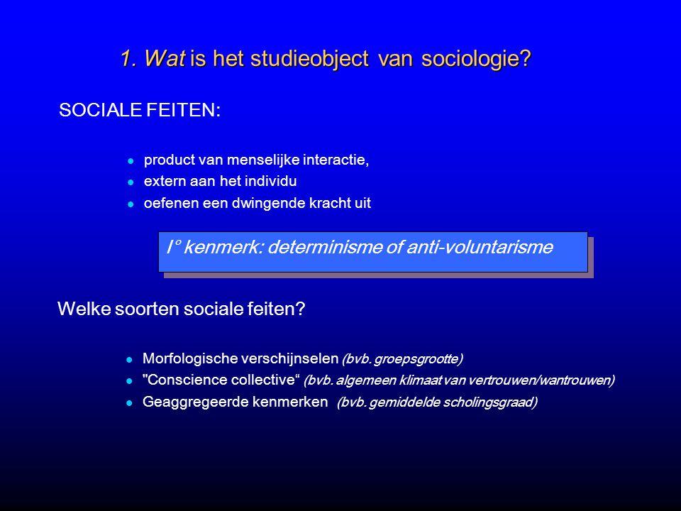 1. Wat is het studieobject van sociologie