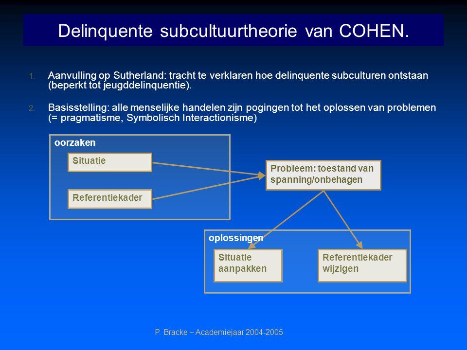 Delinquente subcultuurtheorie van COHEN.