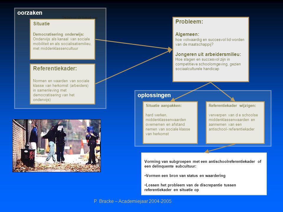 oorzaken Probleem: Referentiekader: oplossingen Situatie Algemeen: