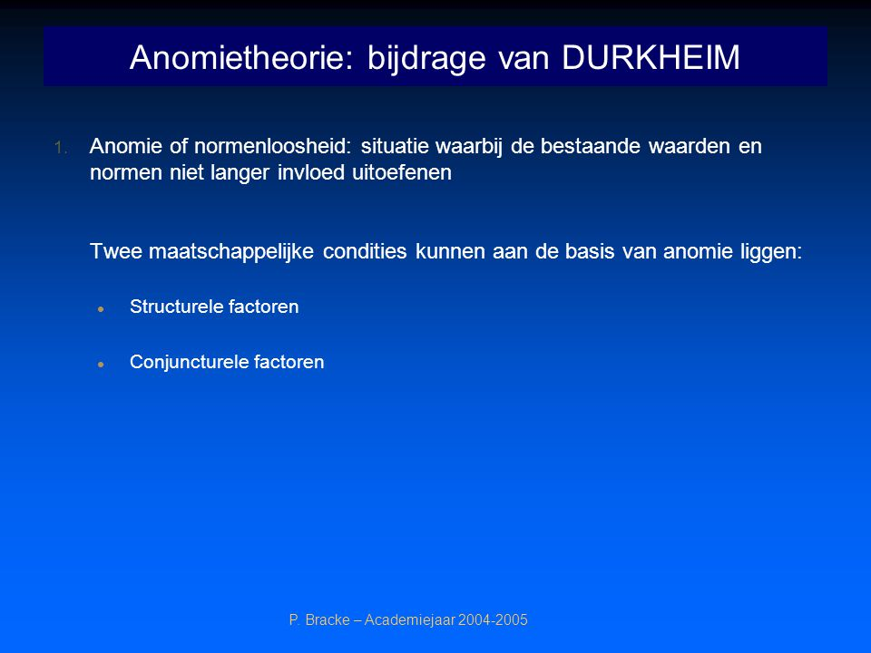 Anomietheorie: bijdrage van DURKHEIM