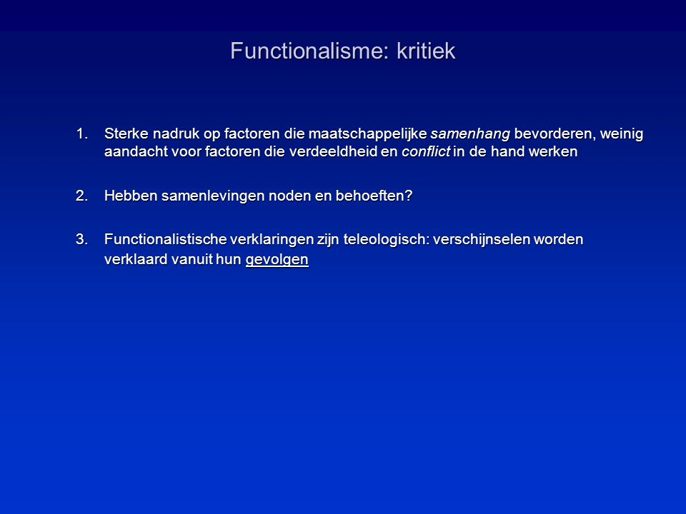 Functionalisme: kritiek