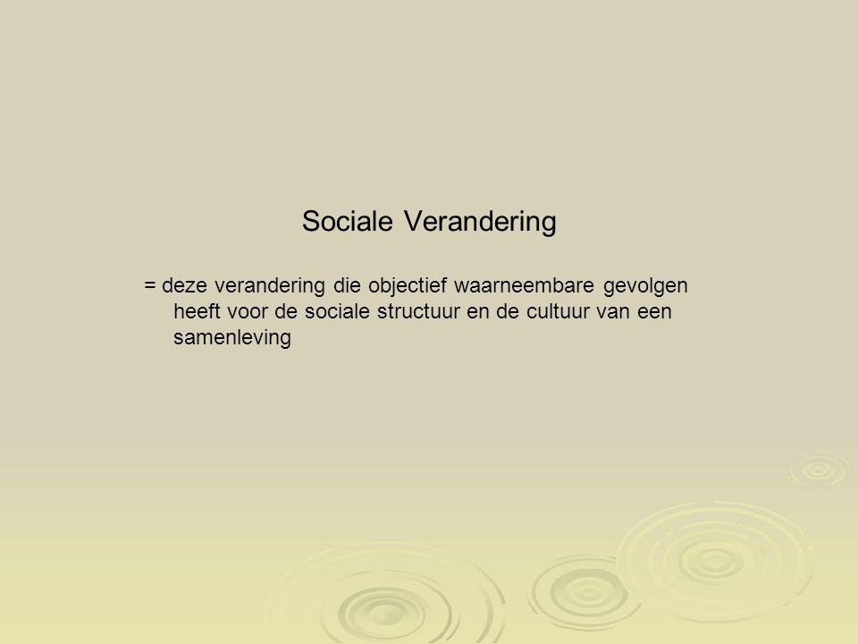 Sociale Verandering = deze verandering die objectief waarneembare gevolgen heeft voor de sociale structuur en de cultuur van een samenleving.