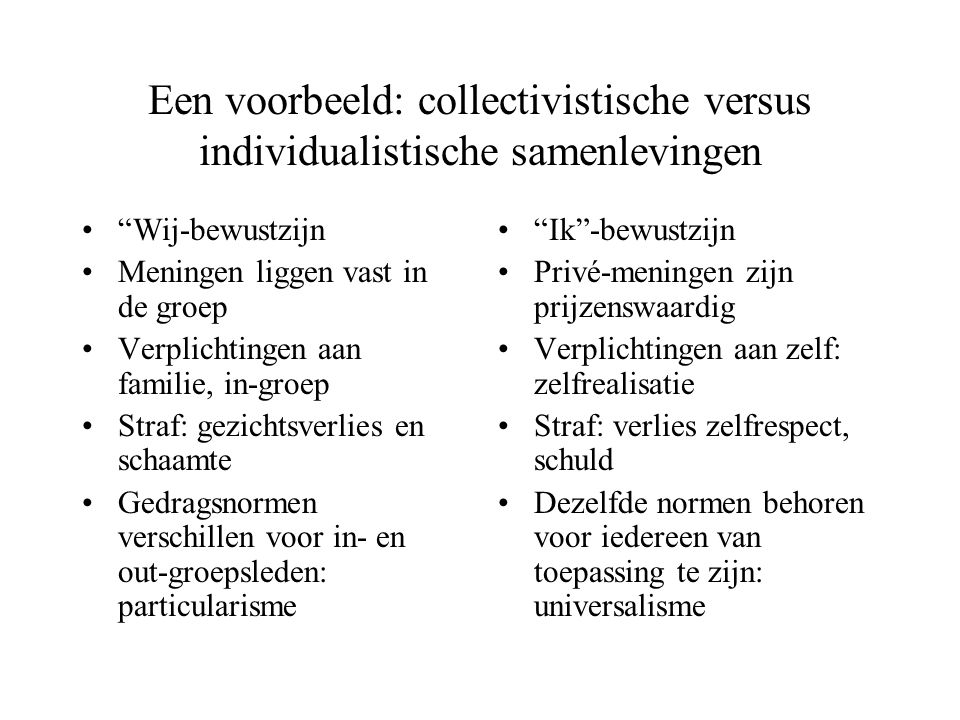 Een voorbeeld: collectivistische versus individualistische samenlevingen