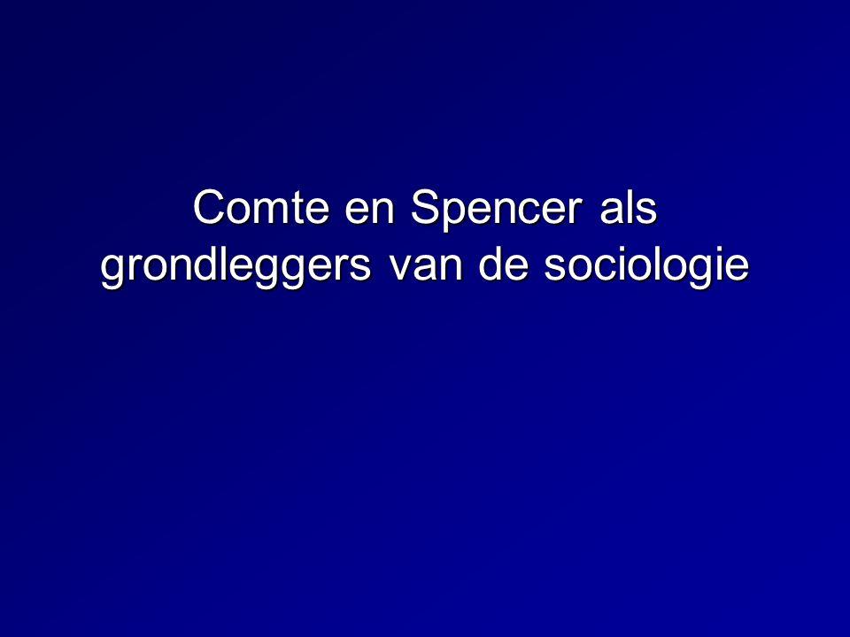 Comte en Spencer als grondleggers van de sociologie