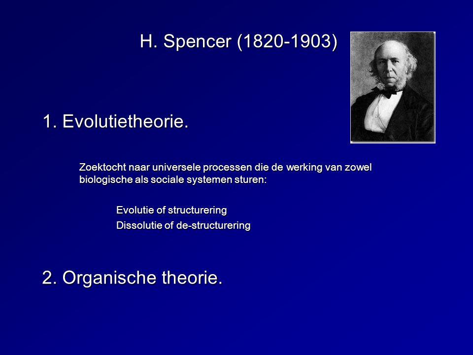 H. Spencer (1820-1903) 1. Evolutietheorie. 2. Organische theorie.