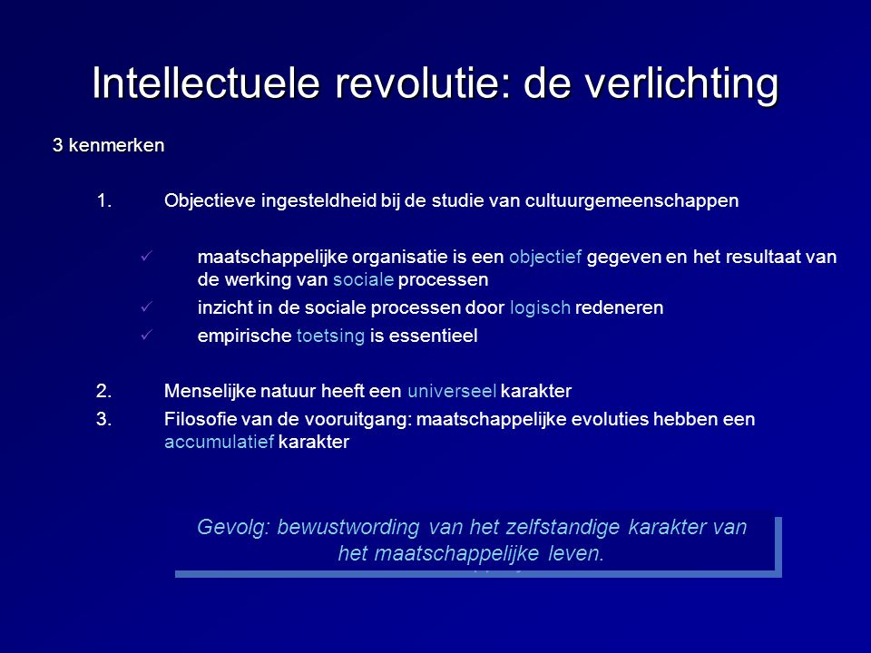 Intellectuele revolutie: de verlichting