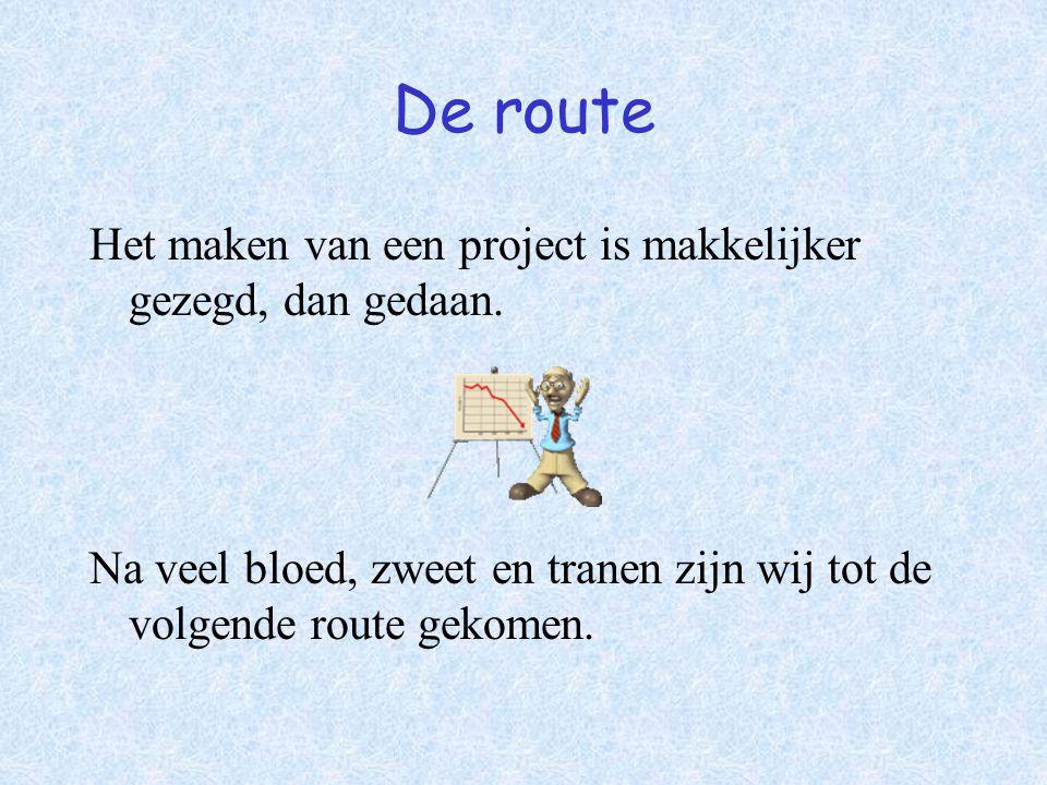 De route Het maken van een project is makkelijker gezegd, dan gedaan.