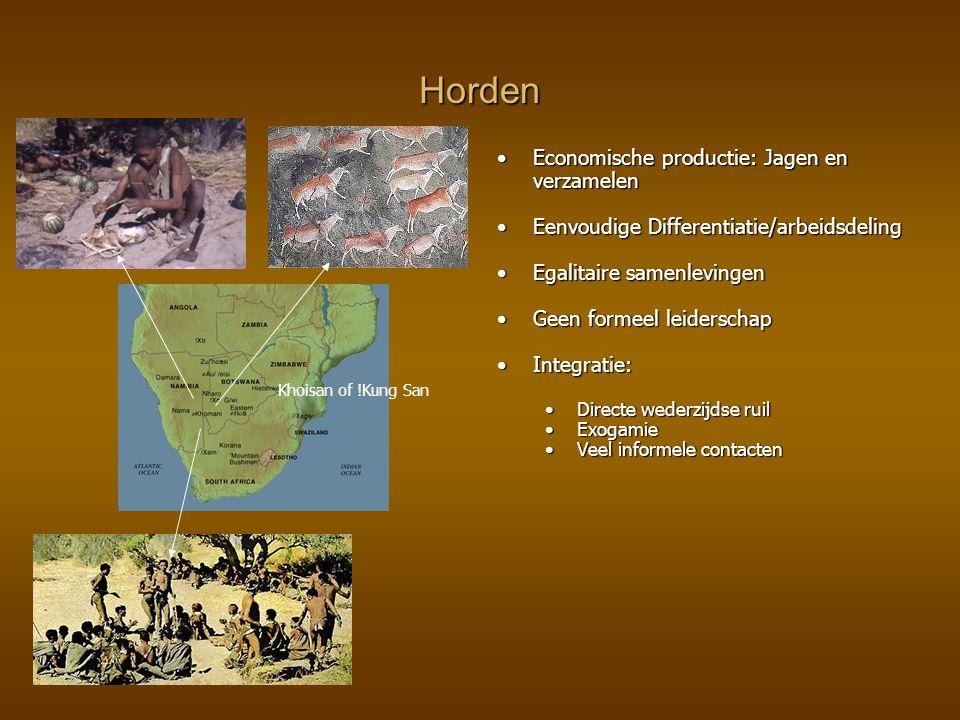 Horden Economische productie: Jagen en verzamelen