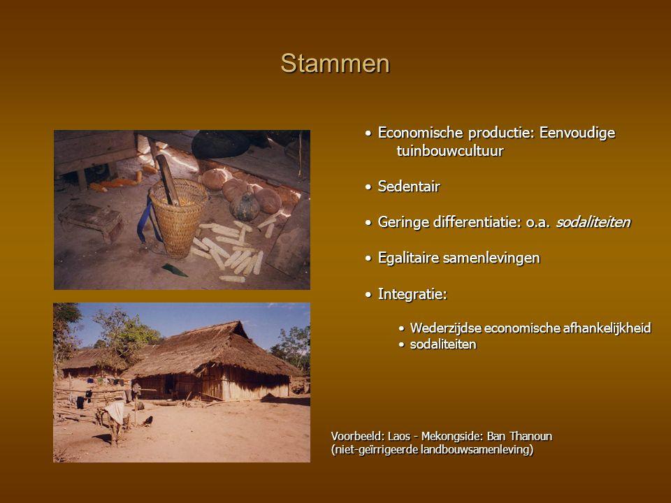 Stammen Economische productie: Eenvoudige tuinbouwcultuur Sedentair
