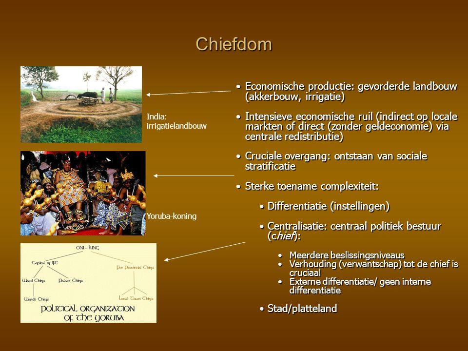 Chiefdom Economische productie: gevorderde landbouw (akkerbouw, irrigatie)