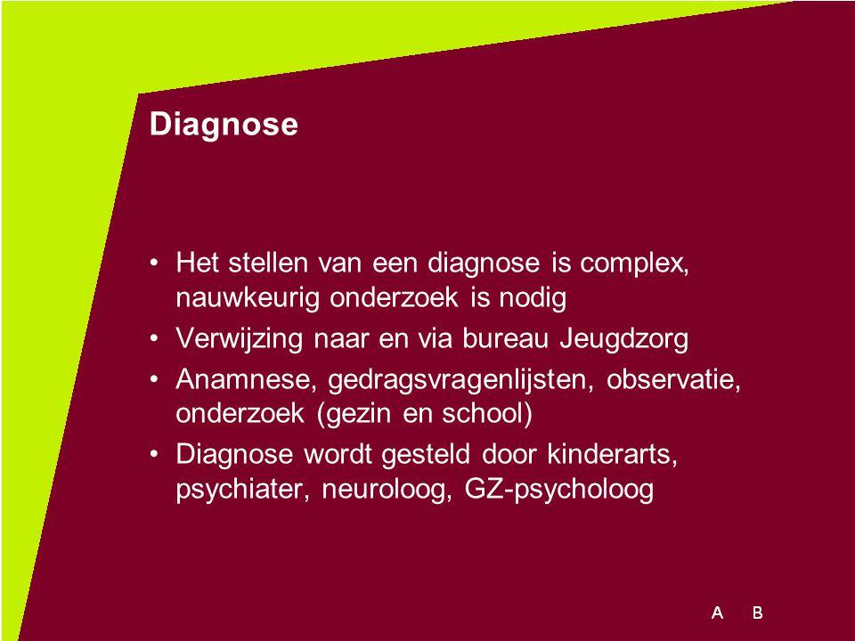 Diagnose Het stellen van een diagnose is complex, nauwkeurig onderzoek is nodig. Verwijzing naar en via bureau Jeugdzorg.