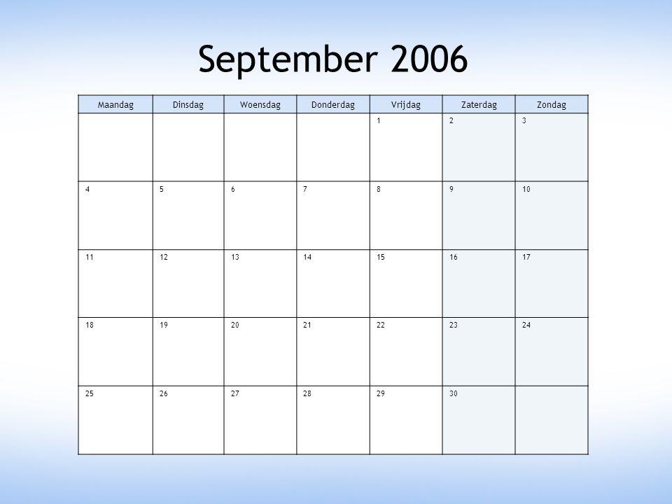 September 2006 Maandag Dinsdag Woensdag Donderdag Vrijdag Zaterdag