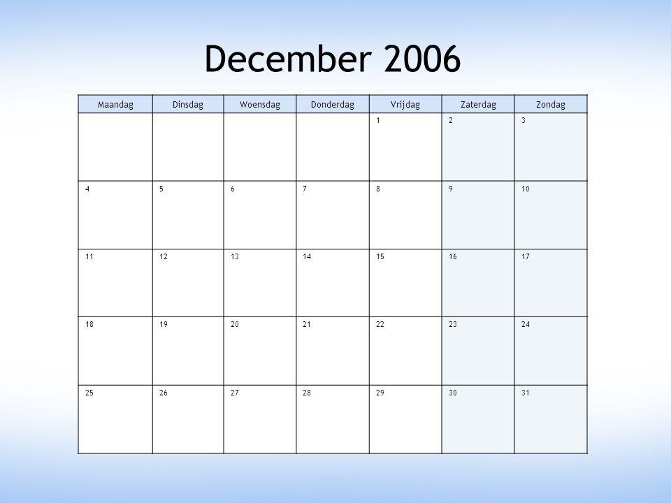 December 2006 Maandag Dinsdag Woensdag Donderdag Vrijdag Zaterdag