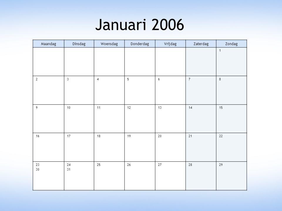 Januari 2006 Maandag Dinsdag Woensdag Donderdag Vrijdag Zaterdag