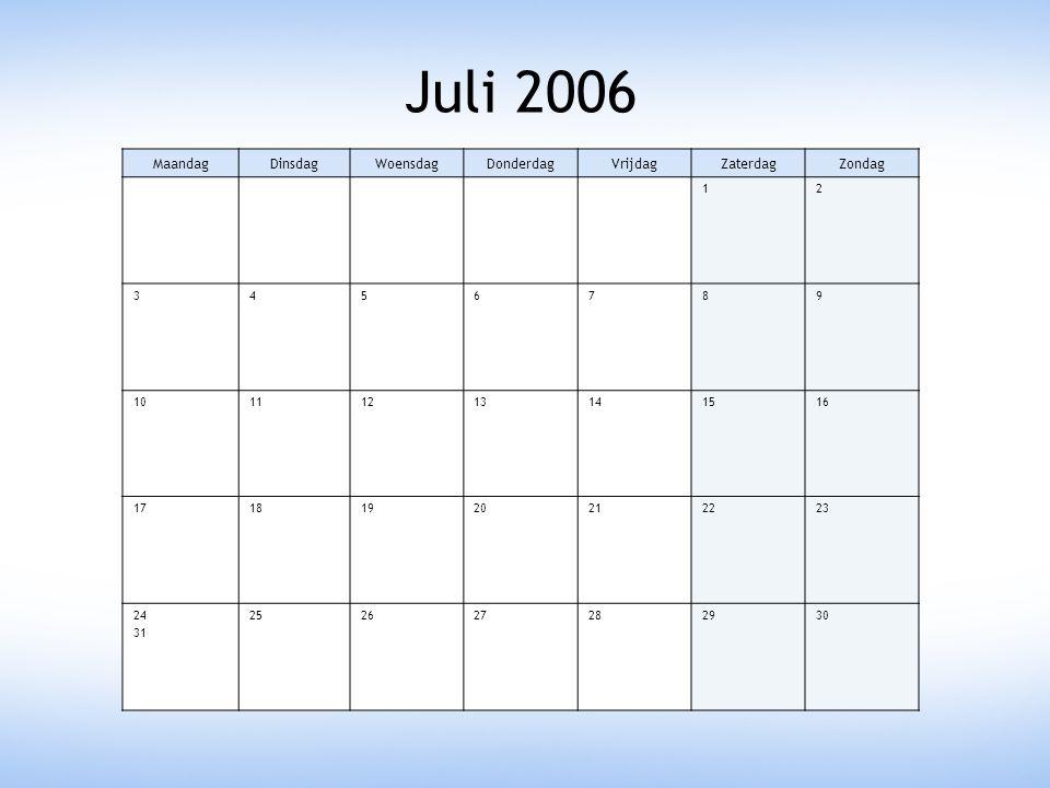 Juli 2006 Maandag Dinsdag Woensdag Donderdag Vrijdag Zaterdag Zondag 1