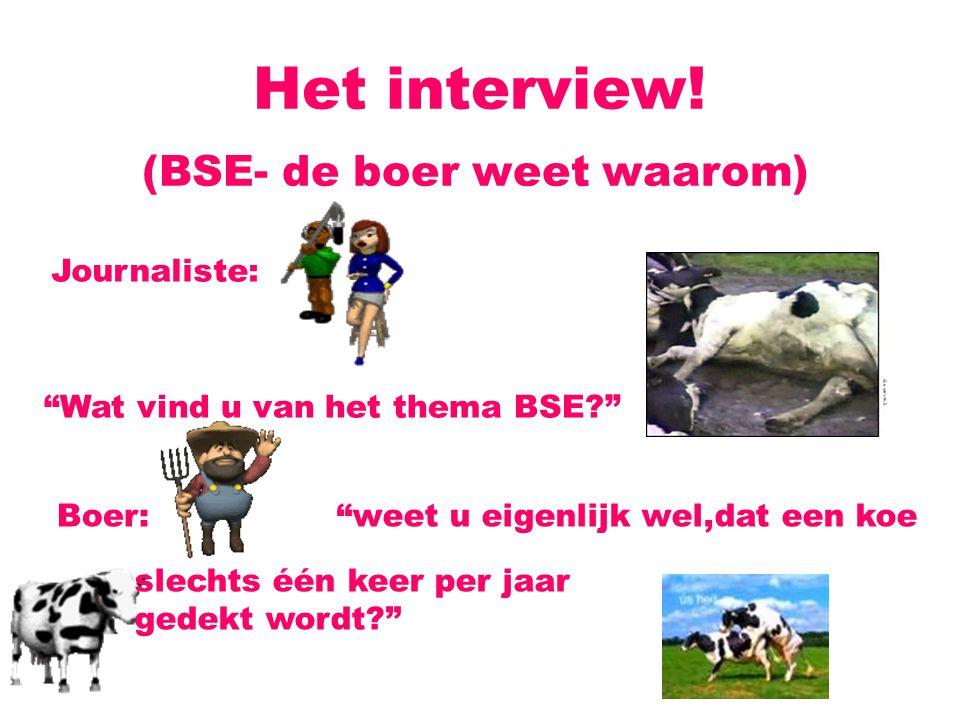 Het interview! (BSE- de boer weet waarom) Journaliste: