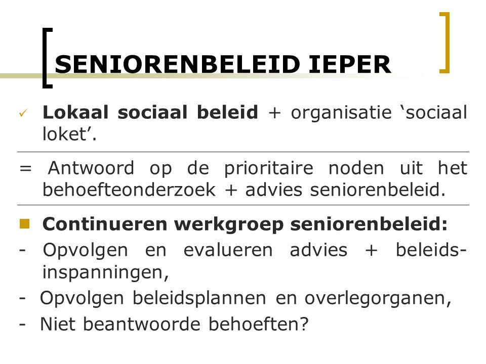 SENIORENBELEID IEPER Lokaal sociaal beleid + organisatie 'sociaal loket'.