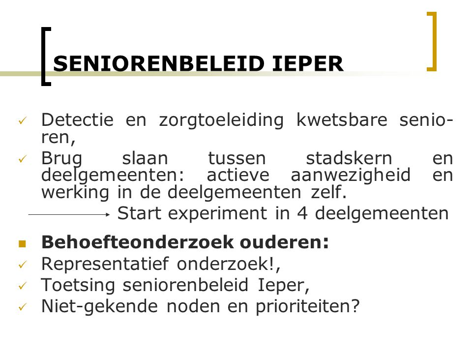 Start experiment in 4 deelgemeenten
