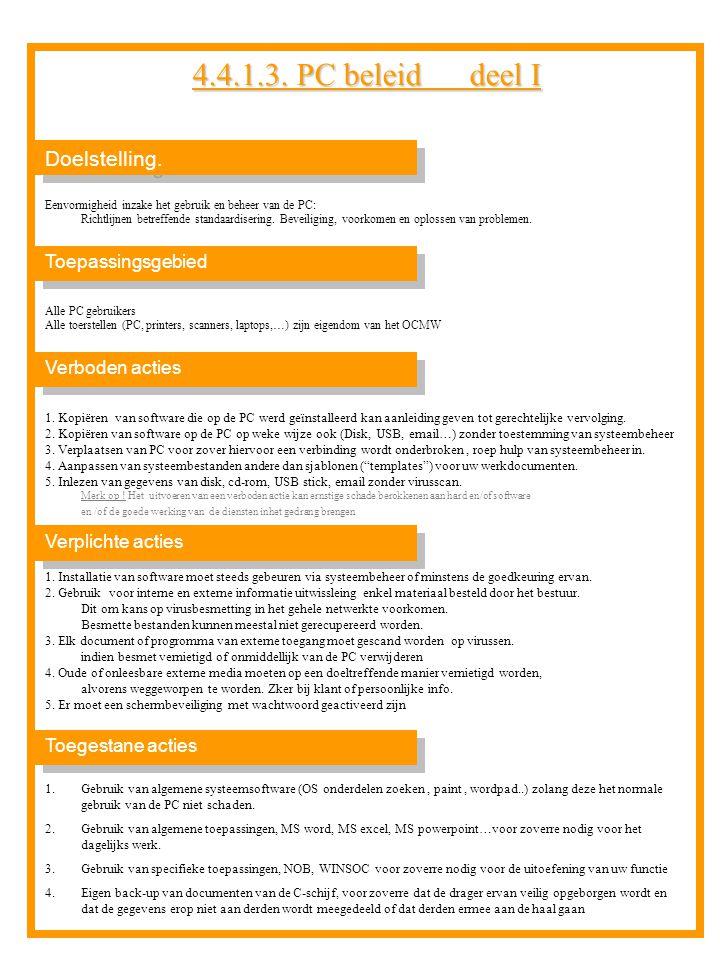 4.4.1.3. PC beleid deel I Doelstelling. Toepassingsgebied