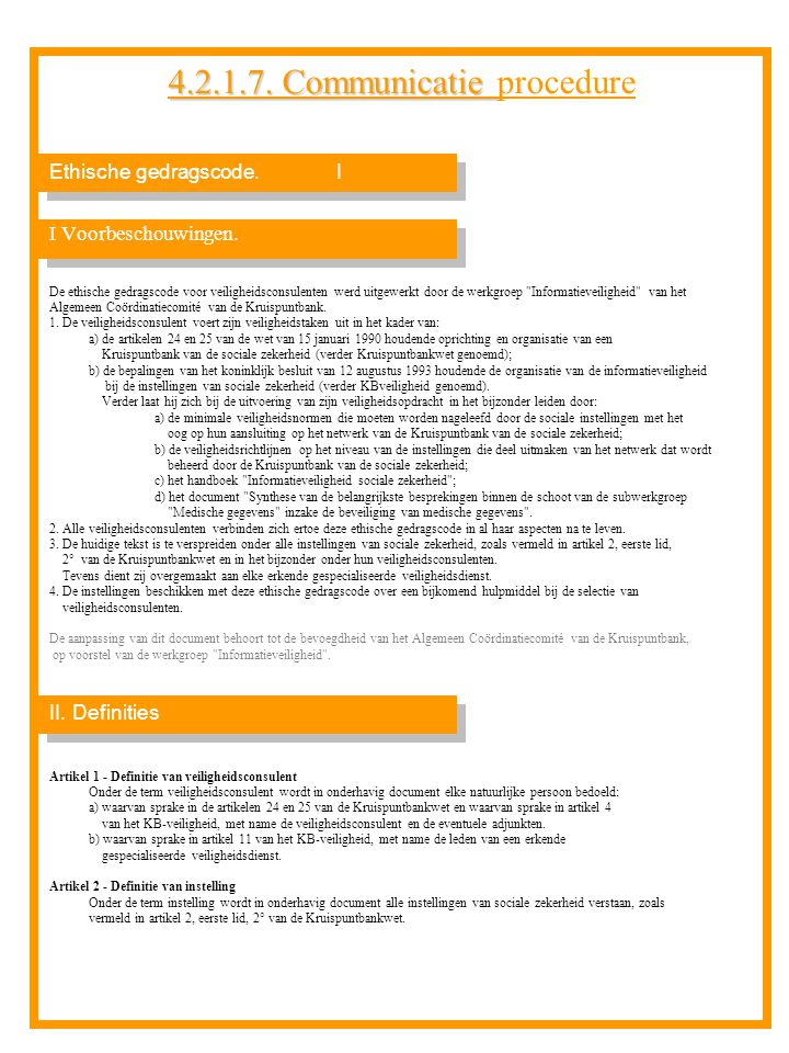4.2.1.7. Communicatie procedure