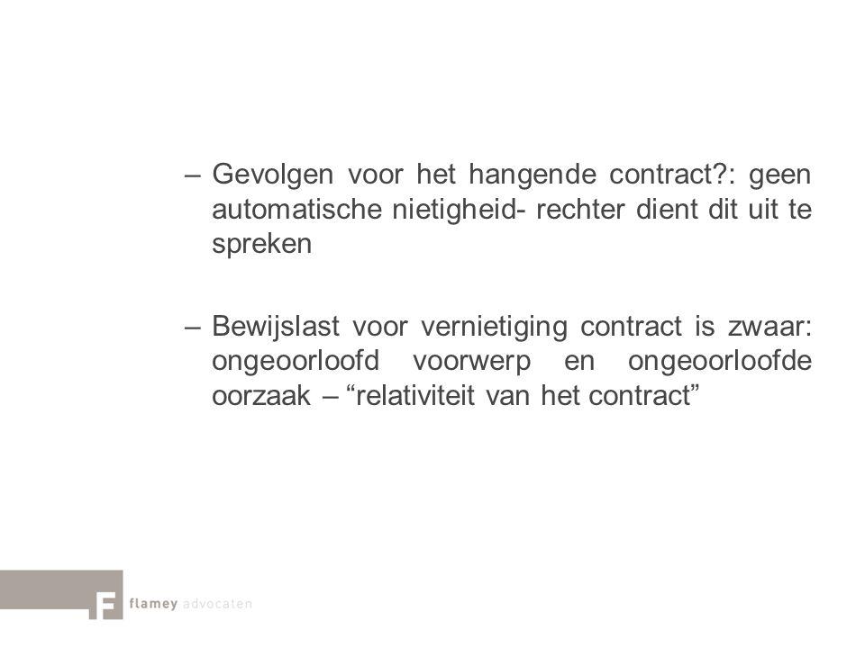 Gevolgen voor het hangende contract