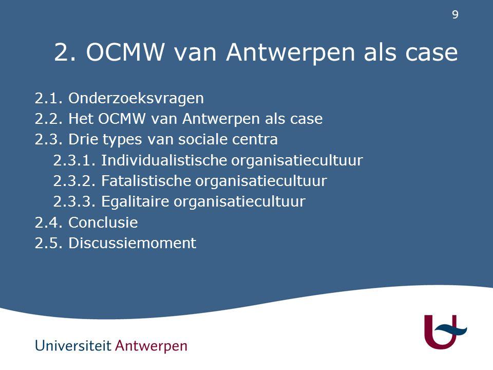 2.1. Onderzoeksvragen Welke definities hanteren de maatschappelijk werkers van het OCMW van Antwerpen over activering