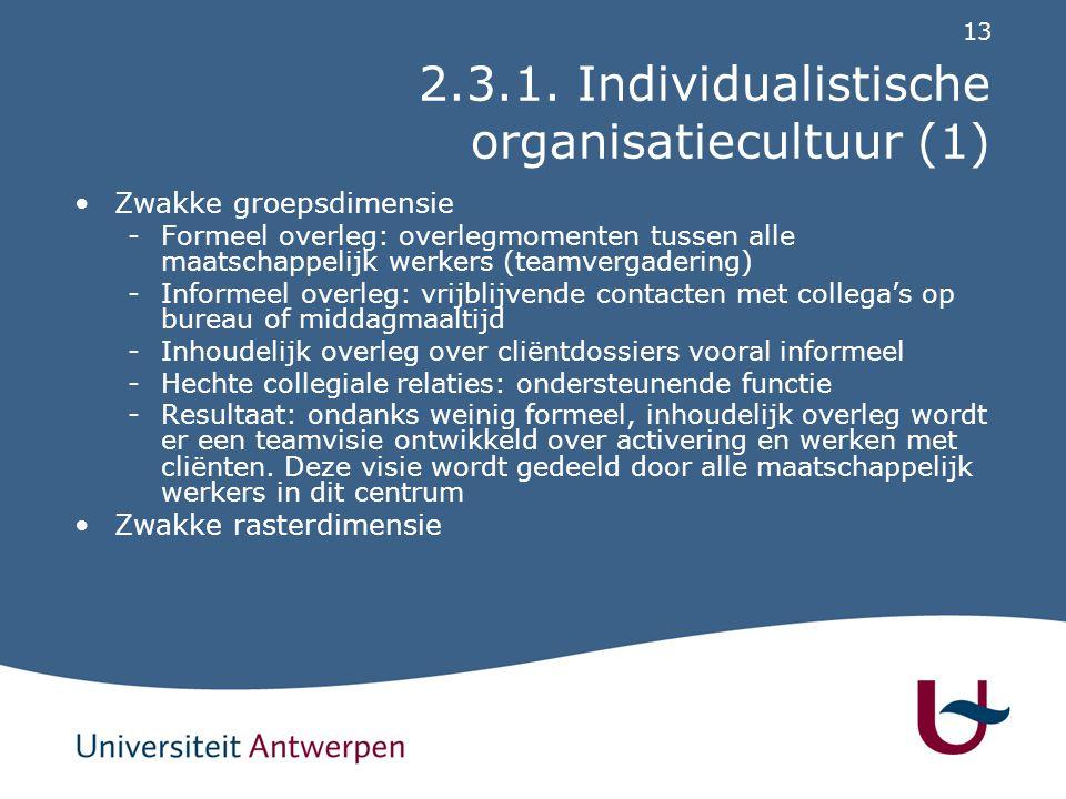 2.3.1. Individualistische organisatiecultuur (2)