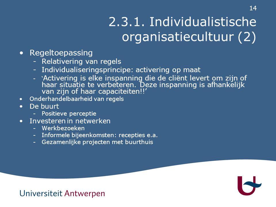 2.3.1. Individualistische organisatiecultuur (3)