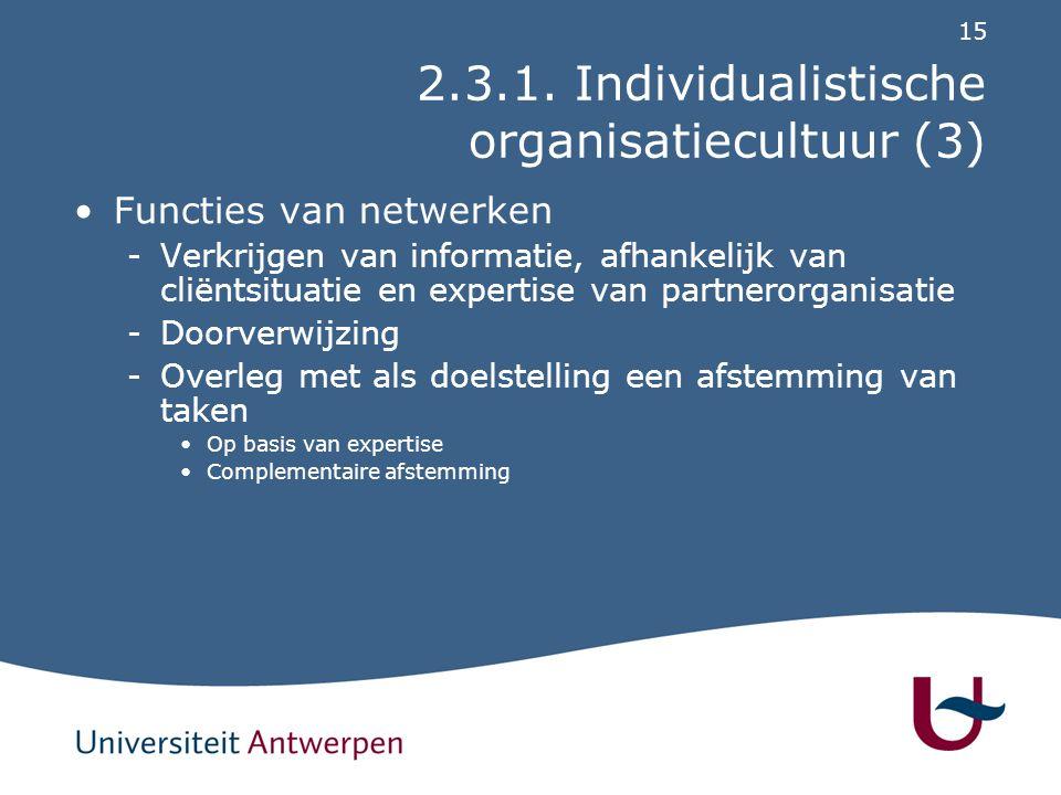 2.3.1. Individualistische organisatiecultuur (4)