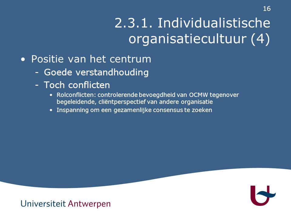 2.3.2. Fatalistische organisatiecultuur (1)